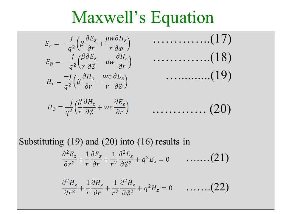 Maxwell's Equation …………..(17) …………..(18) …..........(19).………… (20) Substituting (19) and (20) into (16) results in ….…(21) …….(22)