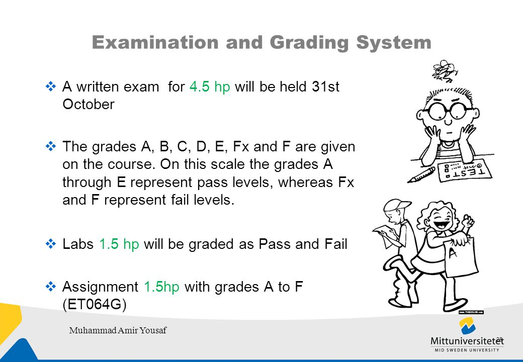 Examination and Grading System  A written exam for 4.5 hp will be held 31st October  The grades A, B, C, D, E, Fx and F are given on the course.