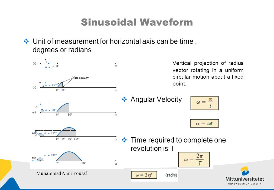 Sinusoidal Waveform  Unit of measurement for horizontal axis can be time, degrees or radians.
