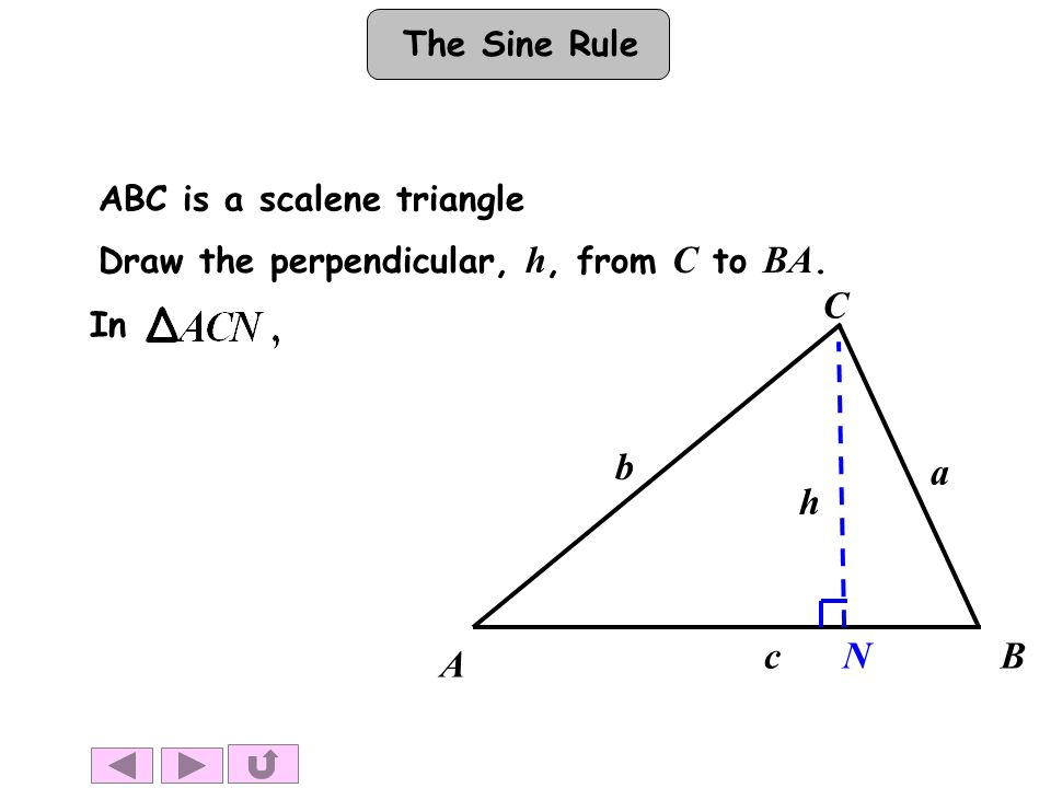 A B C Draw the perpendicular, h, from C to BA. N h b a c In ABC is a scalene triangle