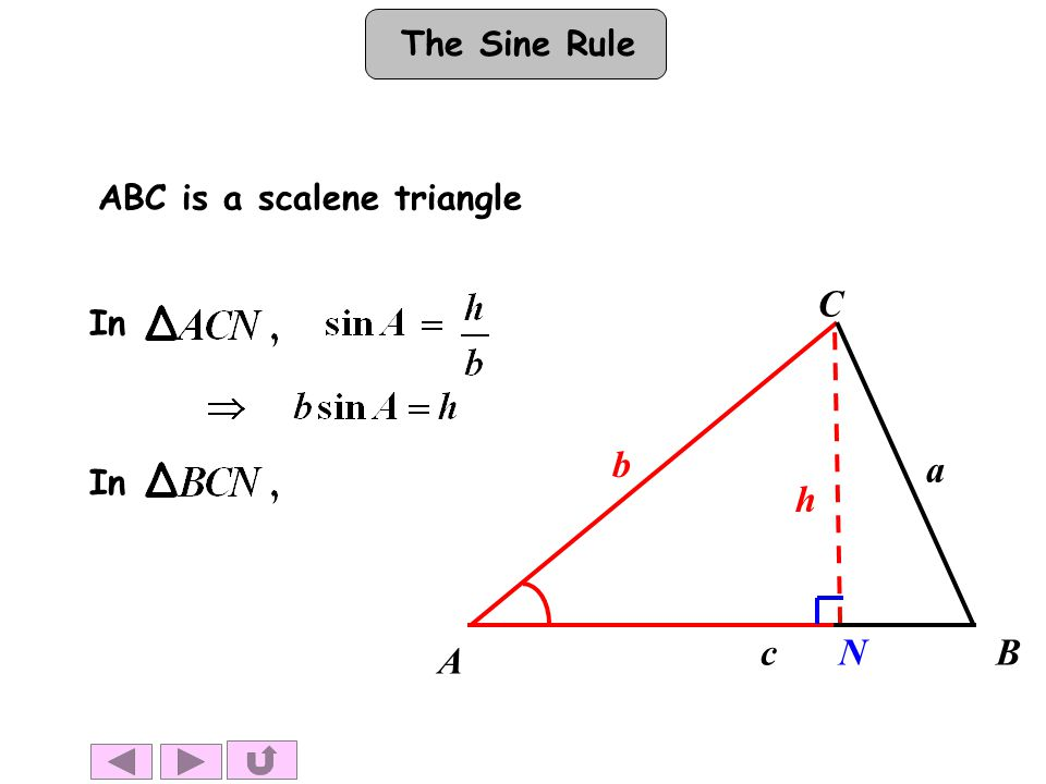 The Sine Rule A B h b a c C In ABC is a scalene triangle In N