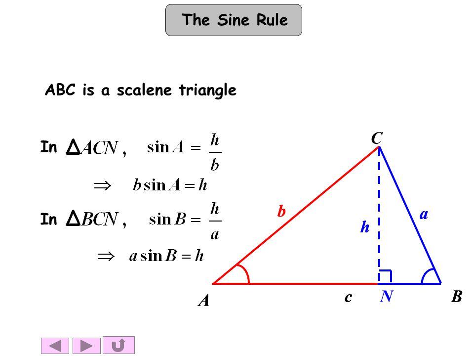 The Sine Rule In ABC is a scalene triangle A BN h b a c A B h b a c C