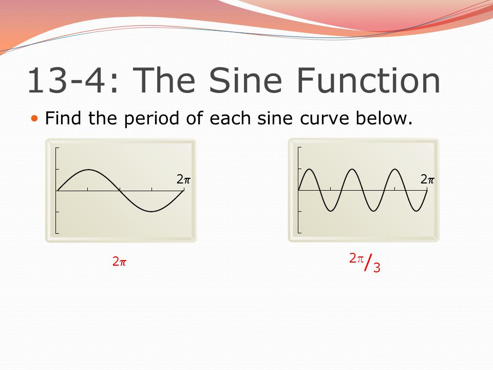 Find the period of each sine curve below. 2222 2  2  / 3