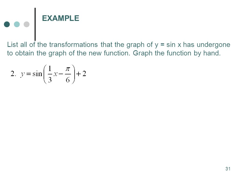 31 EXAMPLE List all of the transformations that the graph of y = sin x has undergone to obtain the graph of the new function. Graph the function by ha