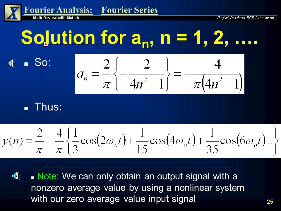 Fourier Analysis:Fourier Series 24 Solution for a n, n = 1, 2, ….