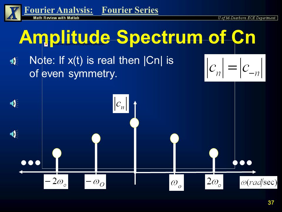 Fourier Analysis:Fourier Series 36 Phase of Cn n Recall that the phase for a complex number a+jb depends on the quadrant that the angle lies in. Quadr