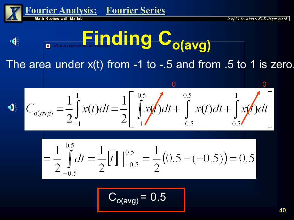 Fourier Analysis:Fourier Series 39 Example: Finding Complex Coefficients n Consider the periodic signal x(t) with period T = 2 sec. Thus: x(t) t -2.5-