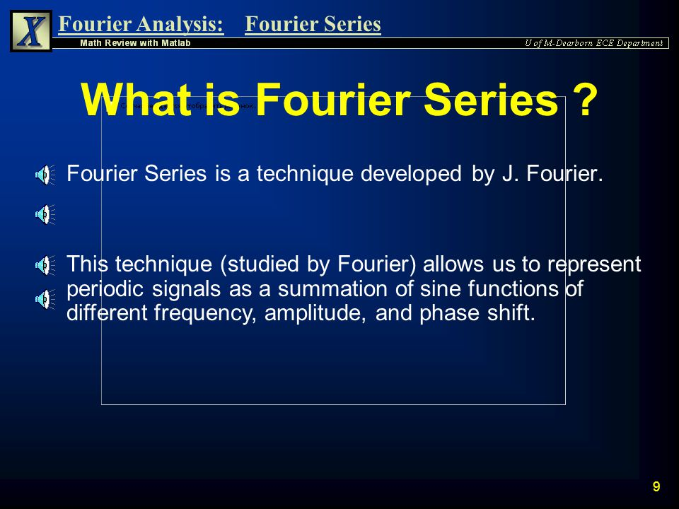"""Fourier Analysis:Fourier Series 8 Frequency of Periodic Signals n The frequency of a signal is defined as the inverse of the period and has the unit """""""