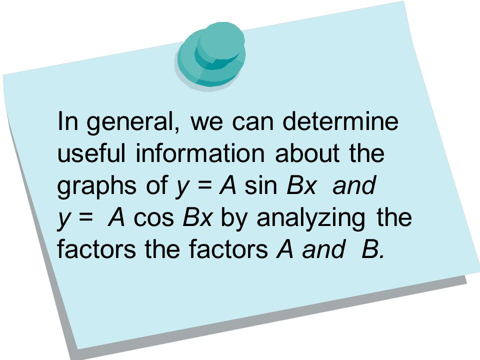 In general, we can determine useful information about the graphs of y = A sin Bx and y = A cos Bx by analyzing the factors the factors A and B.