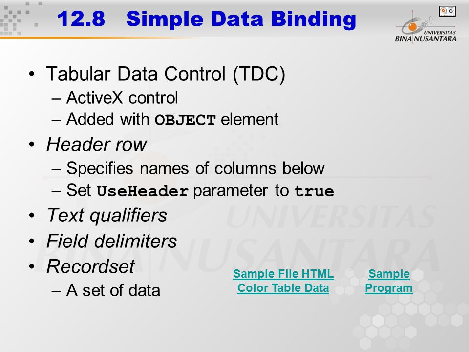 12.8 Simple Data Binding Tabular Data Control (TDC) –ActiveX control –Added with OBJECT element Header row –Specifies names of columns below –Set UseH