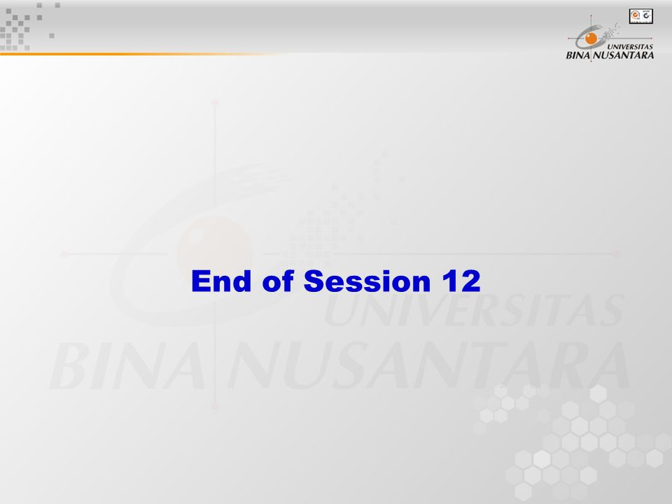 End of Session 12