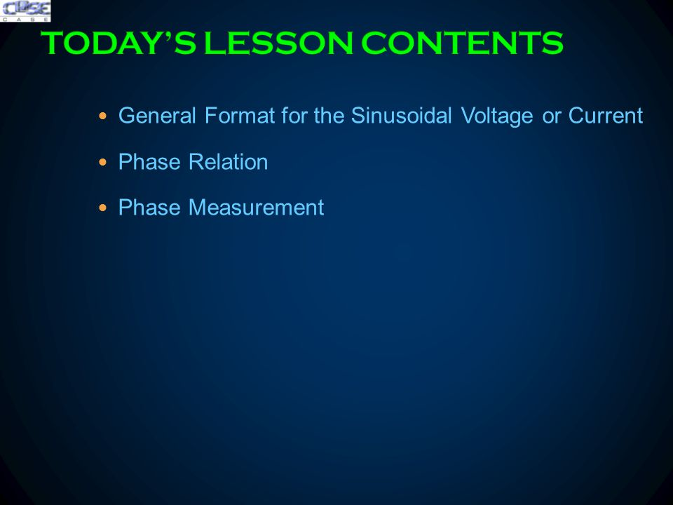 General Format for the Sinusoidal Voltage or Current Phase Relation Phase Measurement