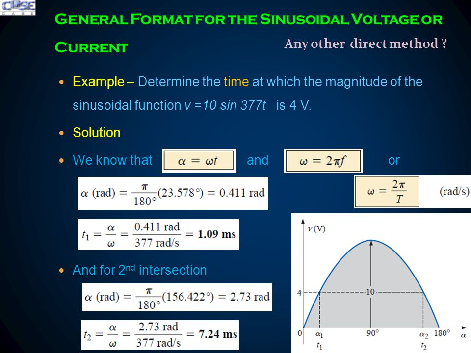 Example – Determine the time at which the magnitude of the sinusoidal function v =10 sin 377t is 4 V.
