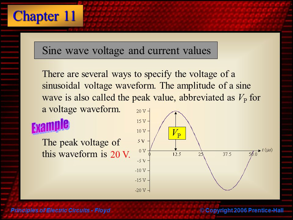 Principles of Electric Circuits - Floyd© Copyright 2006 Prentice-Hall Chapter 11 Sine wave voltage and current values There are several ways to specif