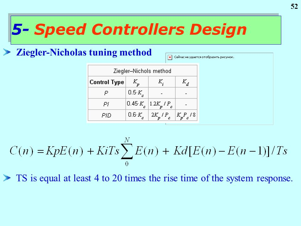 52 Ziegler-Nicholas tuning method 5- Speed Controllers Design TS is equal at least 4 to 20 times the rise time of the system response.