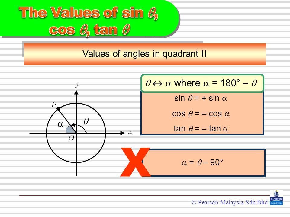  Pearson Malaysia Sdn Bhd Values of angles in quadrant II y x  O  P    where  = 180° –  sin  = + sin  cos  = – cos  tan  = – tan   =  – 90° X