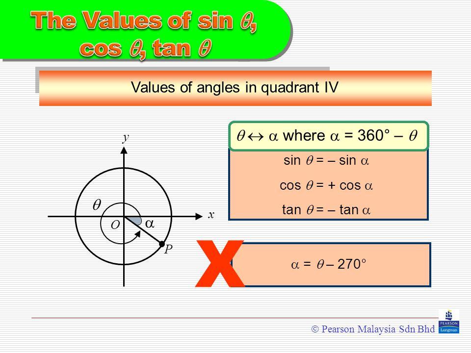  Pearson Malaysia Sdn Bhd Values of angles in quadrant IV y x  O  P    where  = 360° –  sin  = – sin  cos  = + cos  tan  = – tan   =  – 270° X