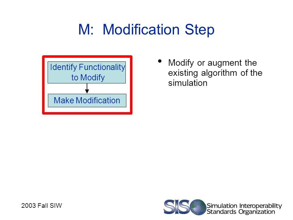 2003 Fall SIW M: Modification Step Modify or augment the existing algorithm of the simulation Identify Functionality to Modify Make Modification