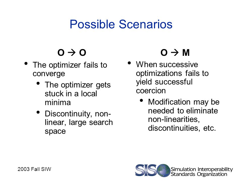 2003 Fall SIW Possible Scenarios O  O The optimizer fails to converge The optimizer gets stuck in a local minima Discontinuity, non- linear, large se