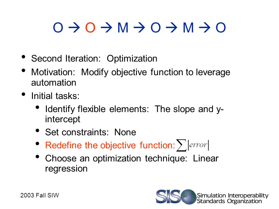 2003 Fall SIW O  O  M  O  M  O Second Iteration: Optimization Motivation: Modify objective function to leverage automation Initial tasks: Identif
