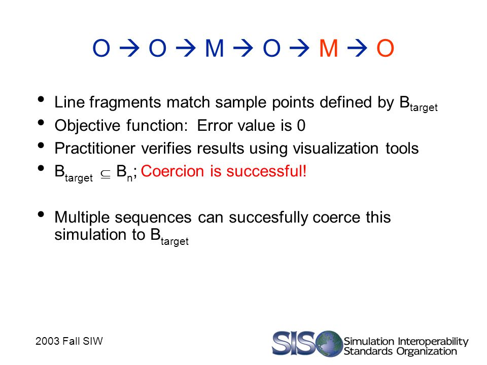 2003 Fall SIW O  O  M  O  M  O Line fragments match sample points defined by B target Objective function: Error value is 0 Practitioner verifies