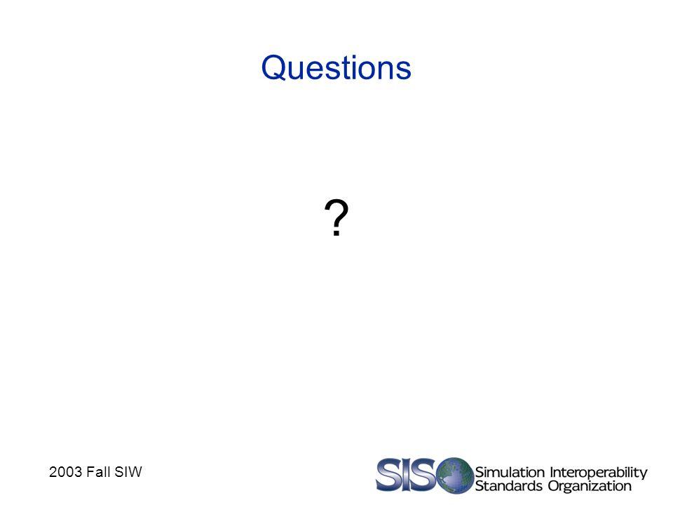 2003 Fall SIW Questions ?
