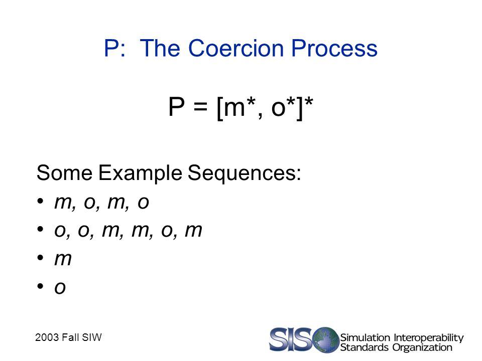 2003 Fall SIW P: The Coercion Process P = [m*, o*]* Some Example Sequences: m, o, m, o o, o, m, m, o, m m o