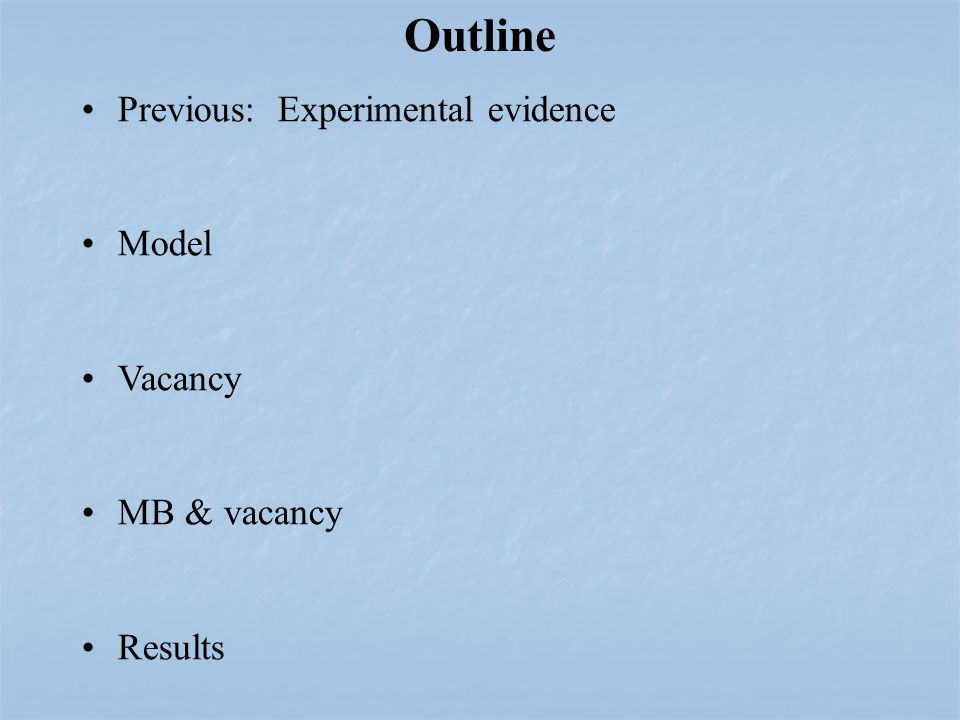Previous: Experimental evidence Model Vacancy MB & vacancy Results Outline