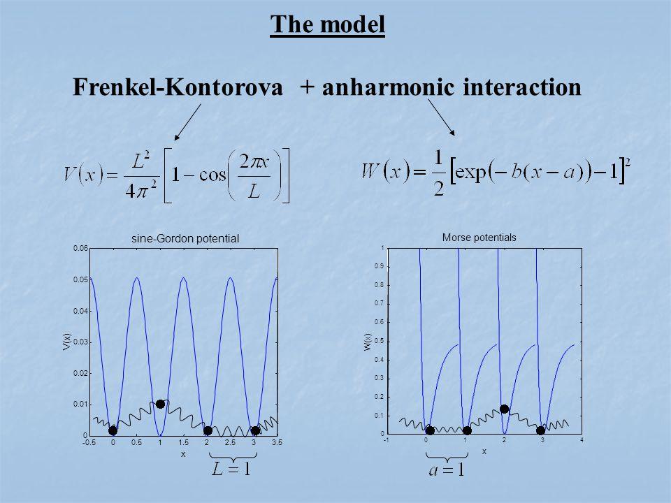 01234 0 0.1 0.2 0.3 0.4 0.5 0.6 0.7 0.8 0.9 1 Morse potentials x W(x) -0.500.511.522.533.5 0 0.01 0.02 0.03 0.04 0.05 0.06 sine-Gordon potential x V(x) The model Frenkel-Kontorova + anharmonic interaction