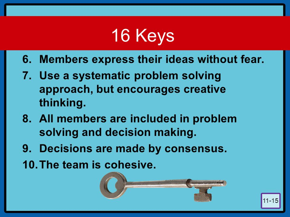 11-15 16 Keys 6.Members express their ideas without fear. 7.Use a systematic problem solving approach, but encourages creative thinking. 8.All members