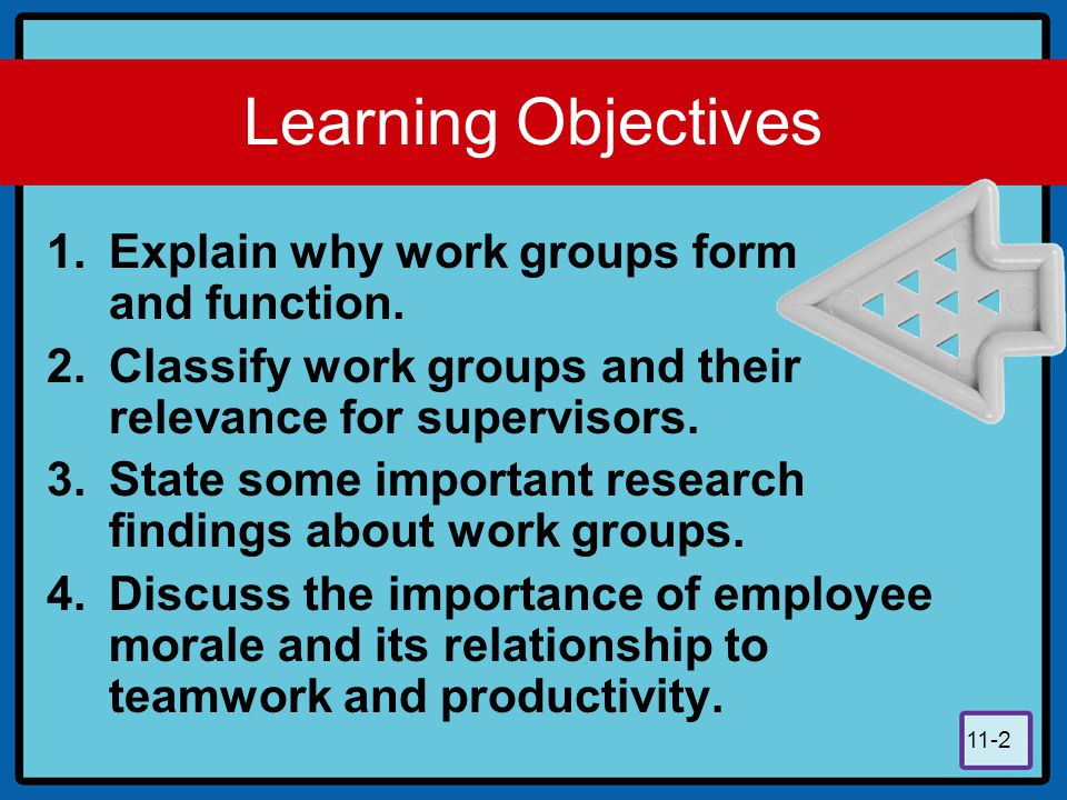 11-2 Learning Objectives 1.Explain why work groups form and function. 2.Classify work groups and their relevance for supervisors. 3.State some importa