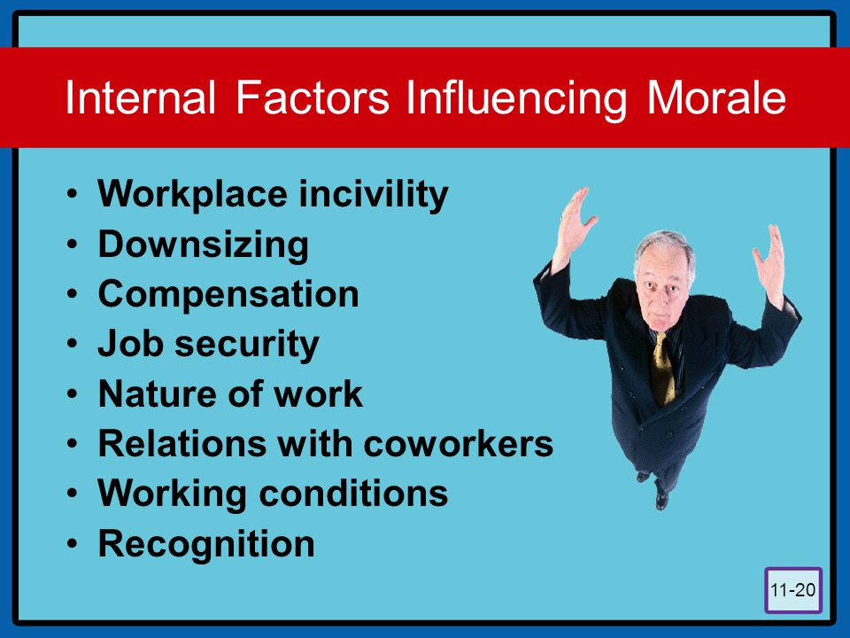 11-20 Internal Factors Influencing Morale Workplace incivility Downsizing Compensation Job security Nature of work Relations with coworkers Working co