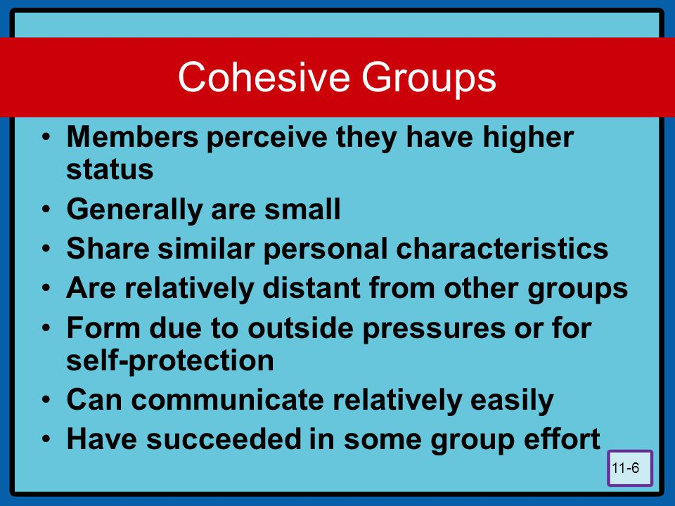 11-6 Cohesive Groups Members perceive they have higher status Generally are small Share similar personal characteristics Are relatively distant from o