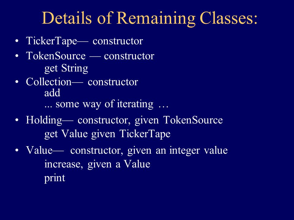 Class Summary Completed: –Portfolio Yet To Complete: –TickerTape –TokenSource –Collection –Holding –Value