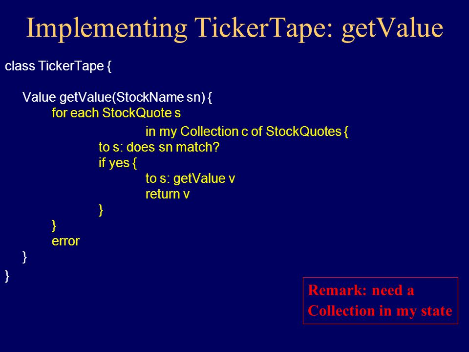 Implementing TickerTape class TickerTape { constructor() { } Value getValue(StockName sn) { } }