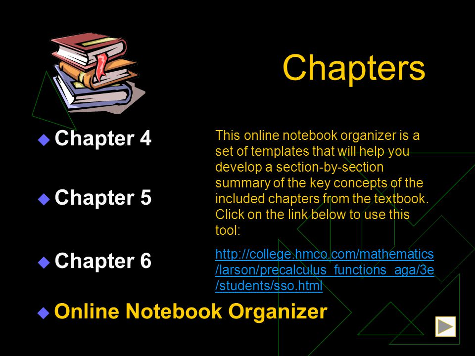 Chapters  Chapter 5 Chapter 5  Chapter 6 Chapter 6  Chapter 4 Chapter 4 This online notebook organizer is a set of templates that will help you develop a section-by-section summary of the key concepts of the included chapters from the textbook.