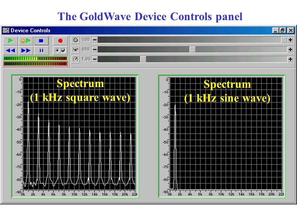 The GoldWave Device Controls panel Spectrum (1 kHz square wave) Spectrum (1 kHz sine wave)