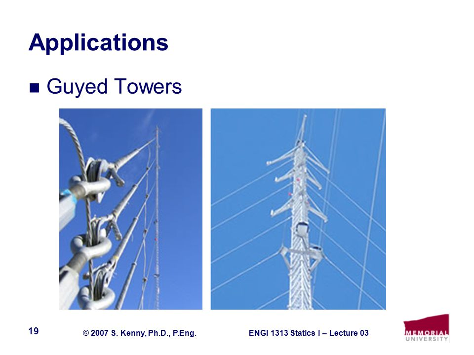ENGI 1313 Statics I – Lecture 03© 2007 S. Kenny, Ph.D., P.Eng. 19 Applications Guyed Towers