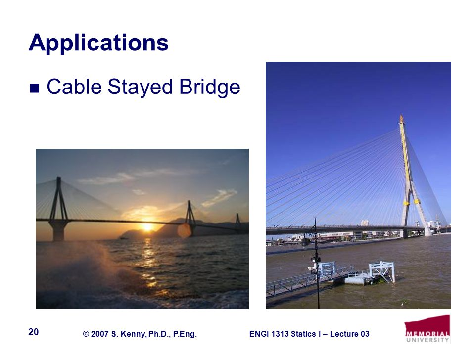ENGI 1313 Statics I – Lecture 03© 2007 S. Kenny, Ph.D., P.Eng. 20 Applications Cable Stayed Bridge