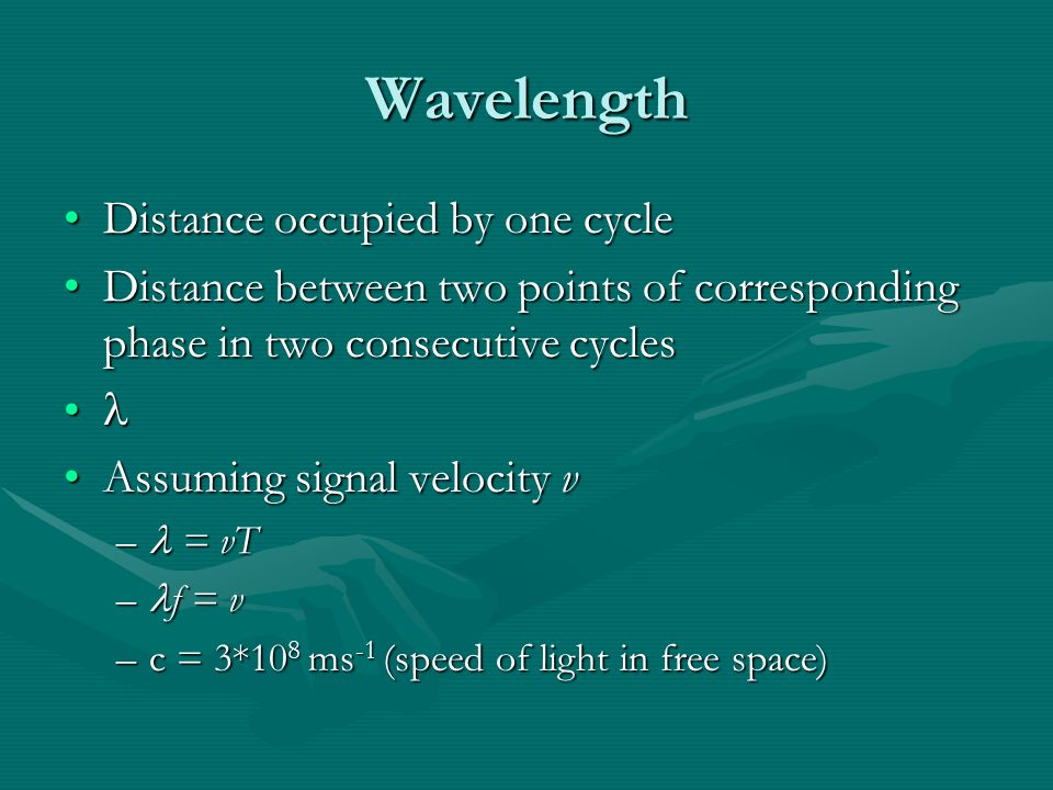 Wavelength Distance occupied by one cycleDistance occupied by one cycle Distance between two points of corresponding phase in two consecutive cyclesDistance between two points of corresponding phase in two consecutive cycles Assuming signal velocity vAssuming signal velocity v – = vT – f = v –c = 3*10 8 ms -1 (speed of light in free space)