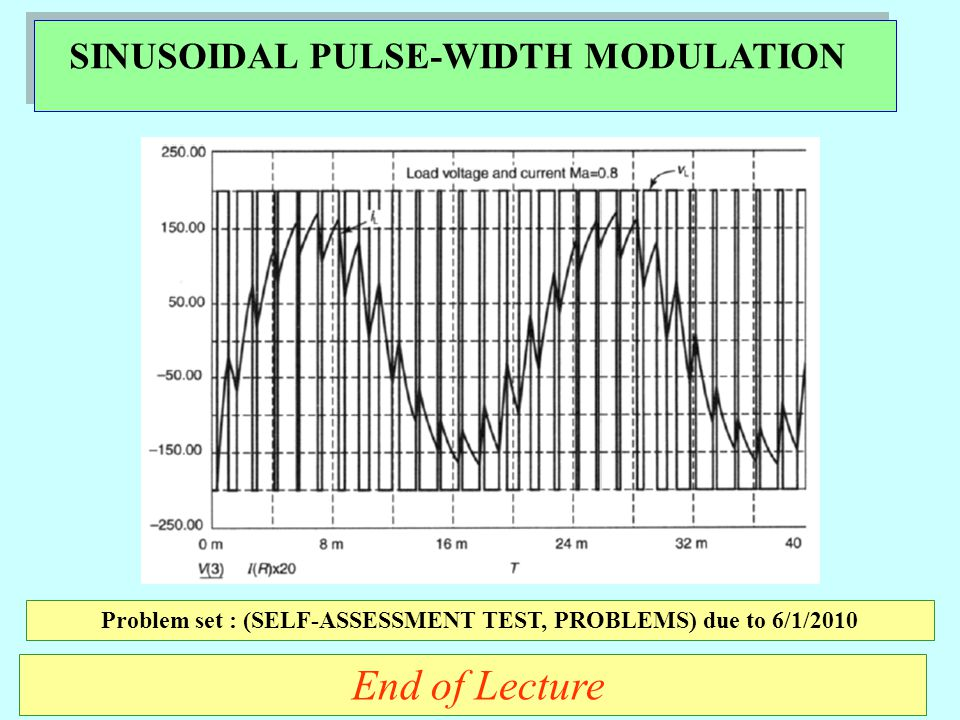 SINUSOIDAL PULSE-WIDTH MODULATION End of Lecture Problem set : (SELF-ASSESSMENT TEST, PROBLEMS) due to 6/1/2010