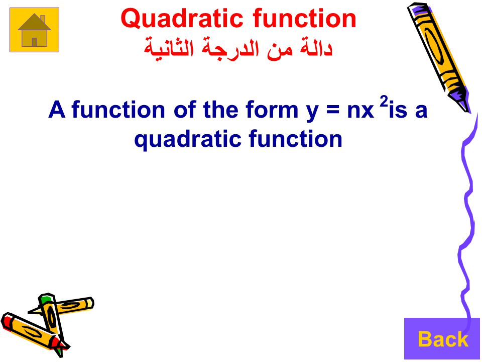 Quadratic function دالة من الدرجة الثانية A function of the form y = nx is a quadratic function 2 Back