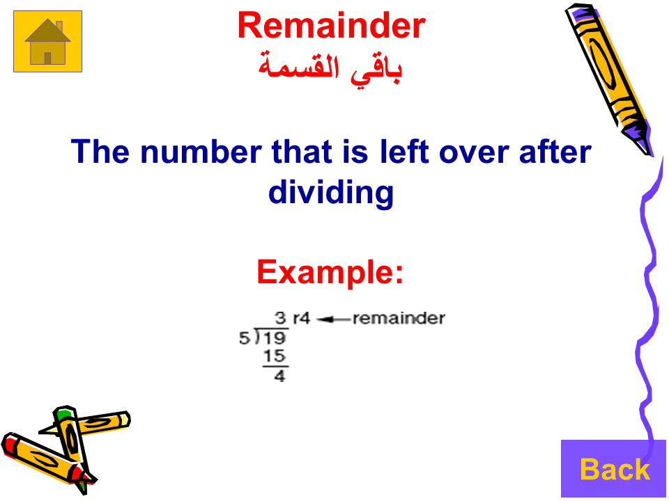 Remainder باقي القسمة The number that is left over after dividing Example: Back