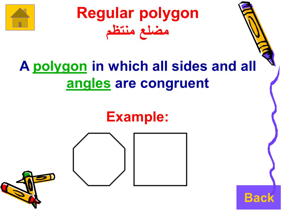 Regular polygon مضلع منتظم A polygon in which all sides and all angles are congruentpolygon angles Example: Back