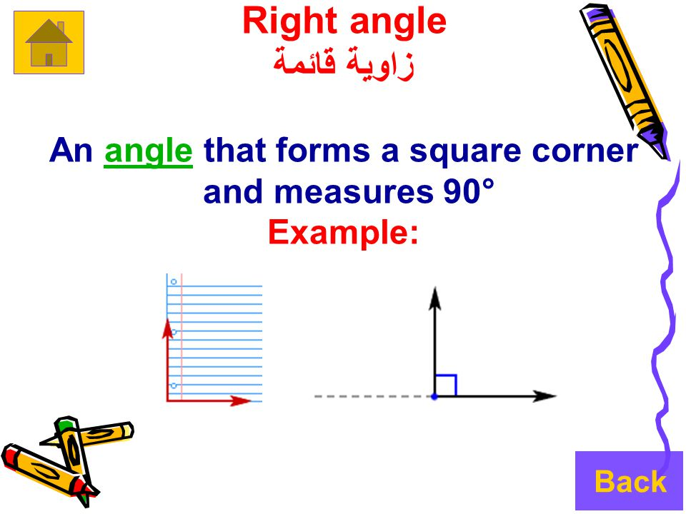 Right angle زاوية قائمة An angle that forms a square cornerangle and measures 90° Example: Back