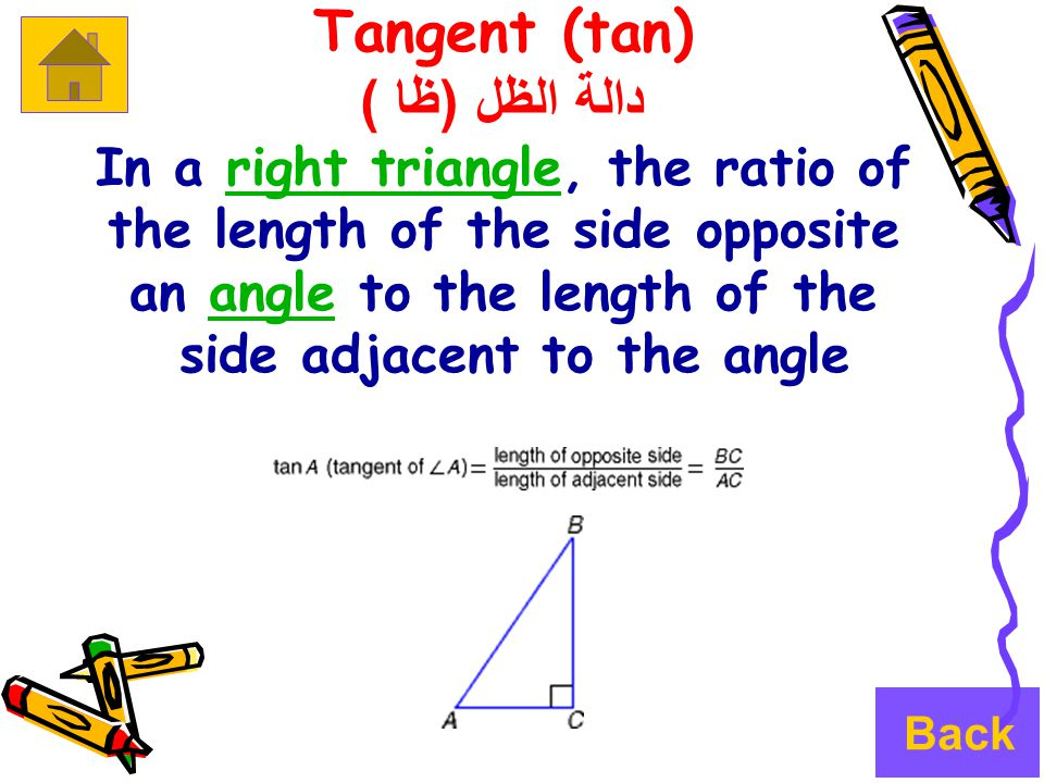 Tangent (tan) دالة الظل ( ظا ) In a right triangle, the ratio ofright triangle the length of the side opposite an angle to the length of theangle side adjacent to the angle Back