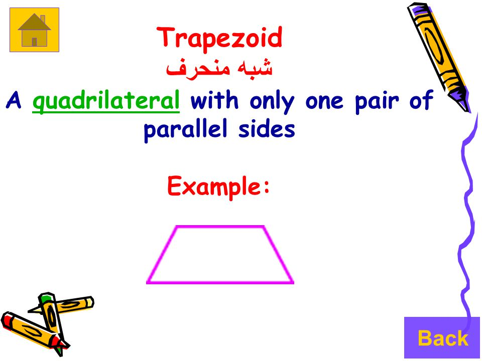 Trapezoid شبه منحرف A quadrilateral with only one pair of parallel sidesquadrilateral Example: Back