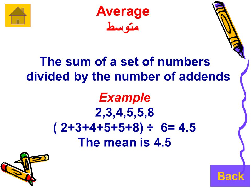 The sum of a set of numbers divided by the number of addends Example 2,3,4,5,5,8 ( 2+3+4+5+5+8) ÷ 6= 4.5 The mean is 4.5 Average متوسط Back