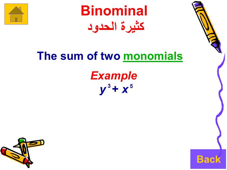 Binominal كثيرة الحدود The sum of two monomialsmonomials Example x + y 3 5 Back