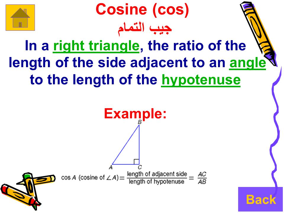 Cosine (cos) جيب التمام In a right triangle, the ratio of theright triangle length of the side adjacent to an angle to the length of the hypotenuseanglehypotenuse Example: Back